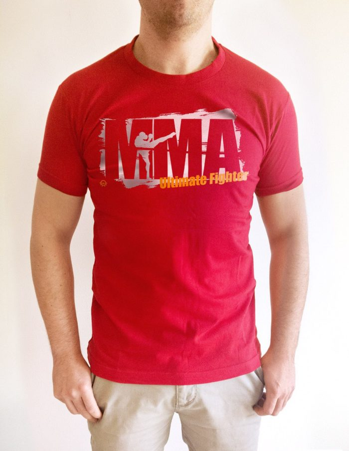 MMA tache rouge porte face e1503767292459 700x904 - T-shirt rouge MMA training pochoir