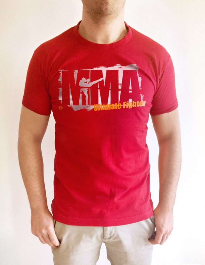MMA tache rouge porte face e1524757309132 700x904 - T-shirt rouge MMA training pochoir