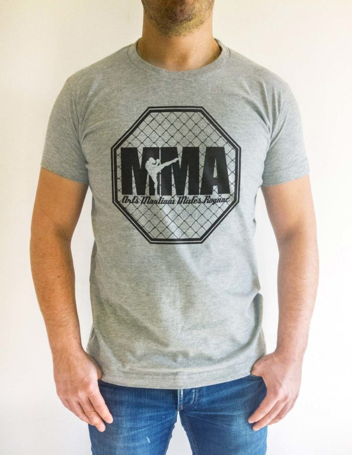 MMA cage face gris chiné illustre 1 700x904 - T-shirt gris chiné MMA cage training