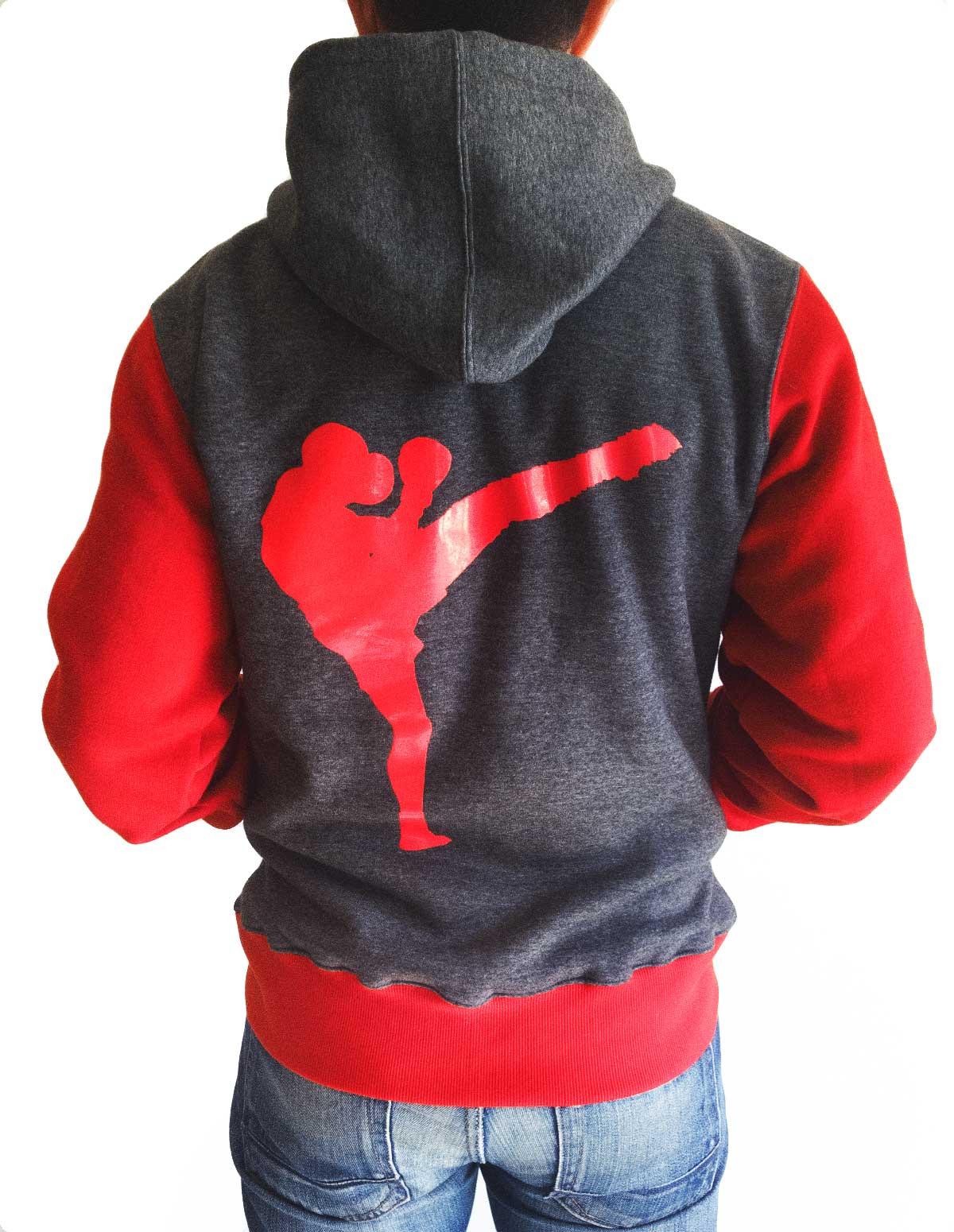 Veste à capuche grise et rouge MMvA brodé dos