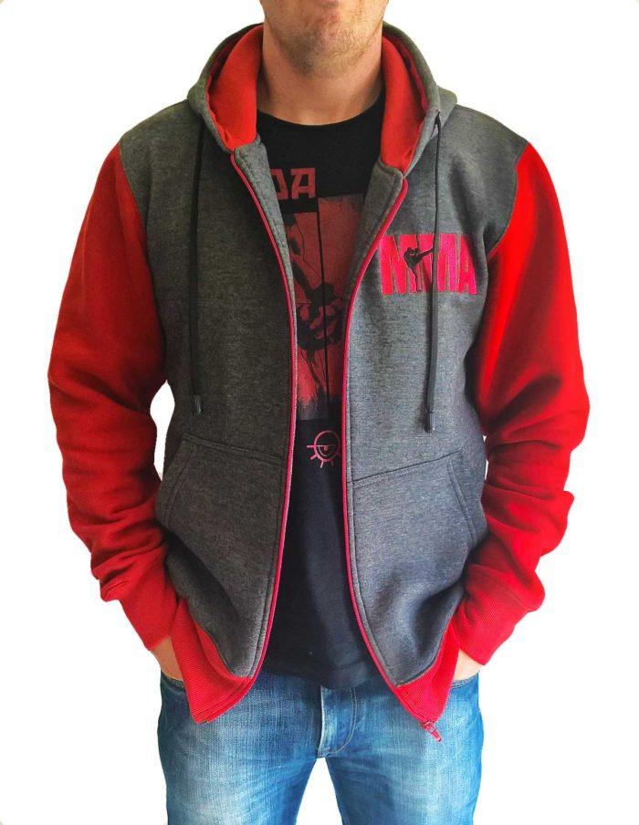 Veste à capuche grise et rouge MMA brodé