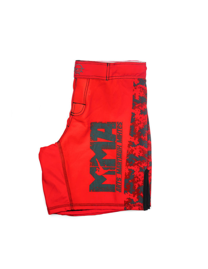 Short MMA rouge Cam vue de profile