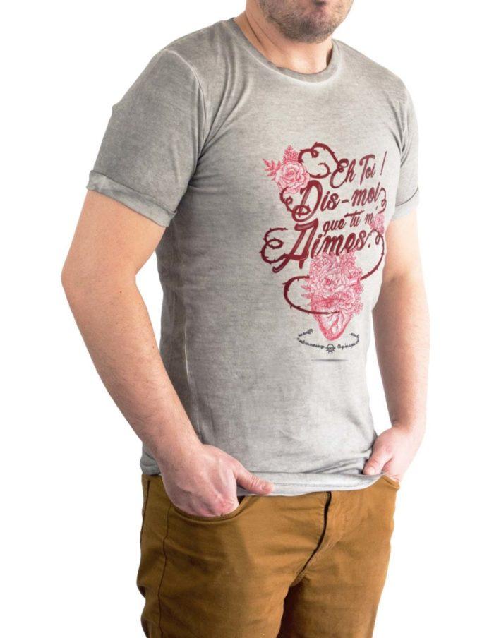 tshirt denim gris homme porté trois quart