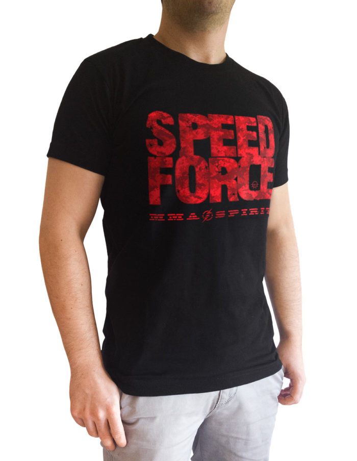 t shirt homme noir-speed force vu de 3 quart