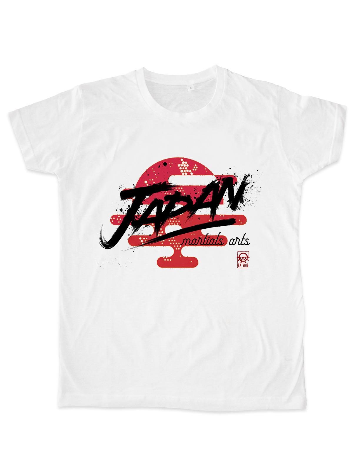 T shirt homme blanc coupe cintrée Japan martials arts