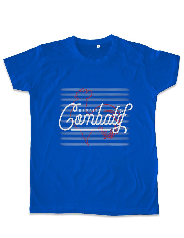 T-shirt homme bleu gendarme vintage Esprit combatif packshot