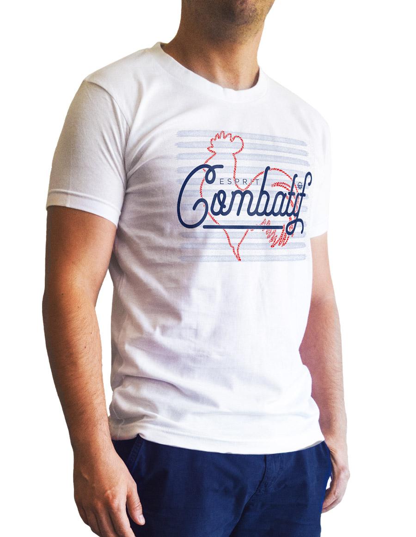 t-shirt blanc cintré esprit combatif 3 quart