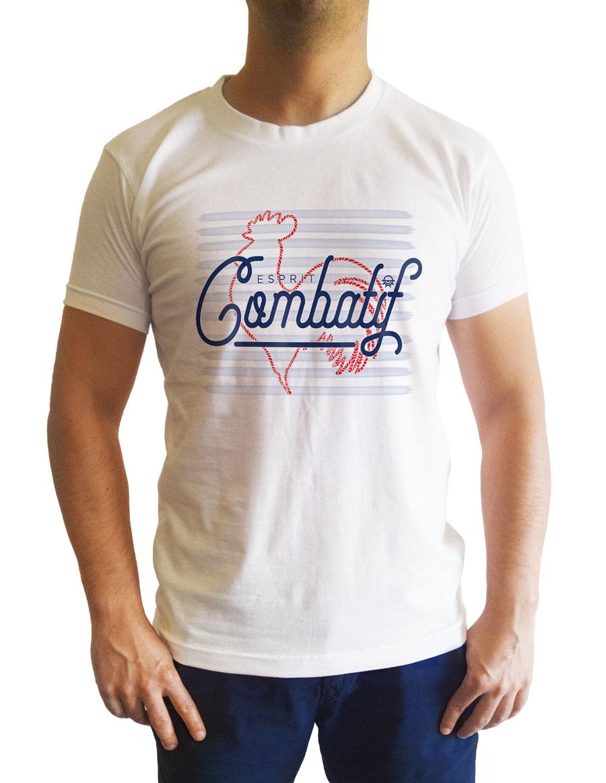 t-shirt blanc cintré esprit combatif face