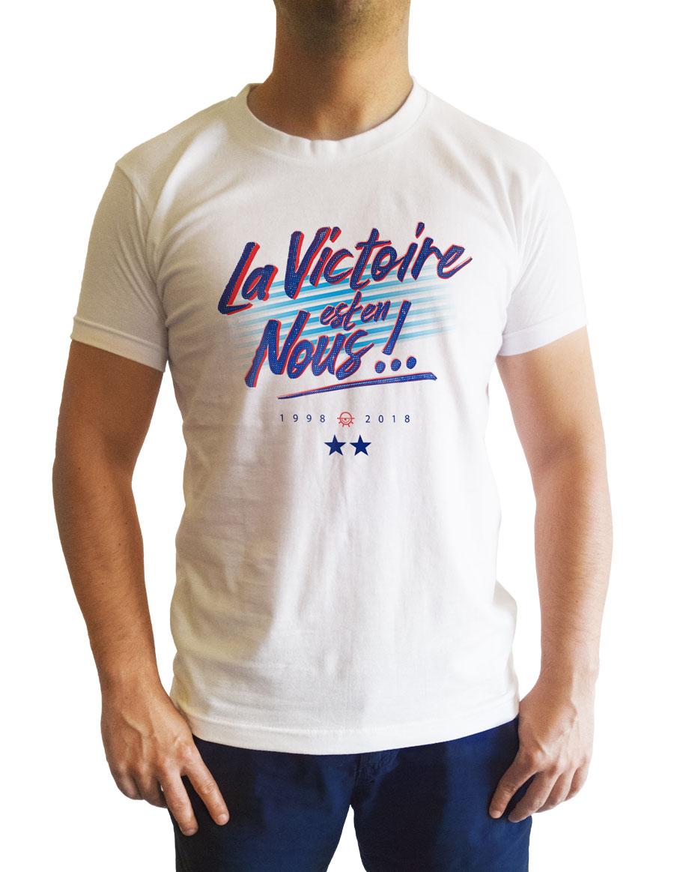 Tshirt porté face blanc La victoire est en nous