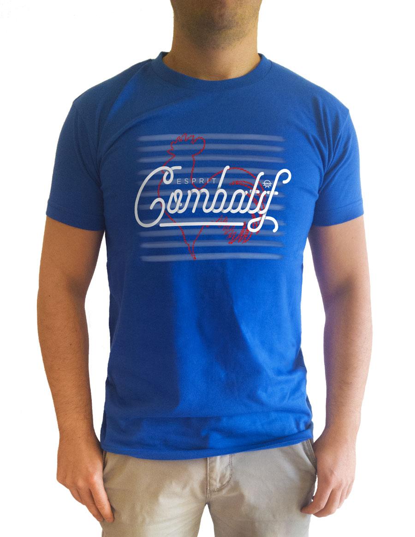 T-shirt homme bleu gendarme vintage Esprit combatif porté face