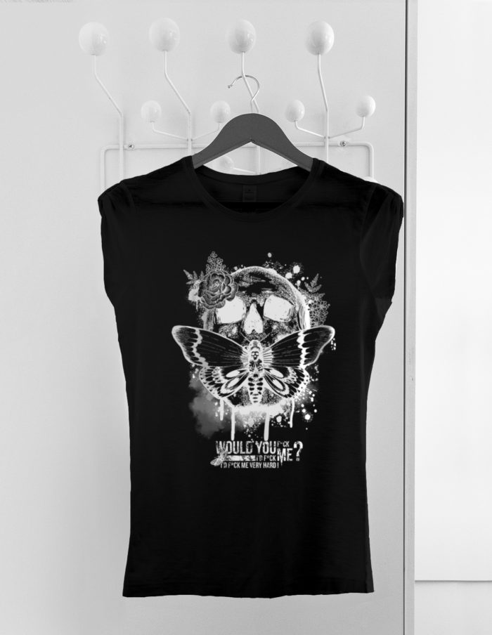 Tshirt trendy top femme, noir manches plissées, Skull silence cintre