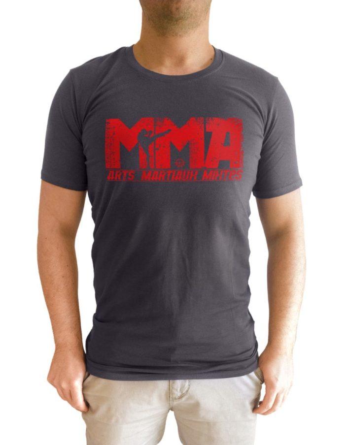 Tshirt homme gris foncé, coupe cintré, imprimé MMA soviet rouge