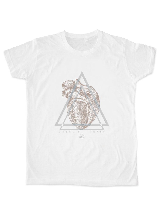 tshirt homme cintré blanc, 100% coton, Angel Heart