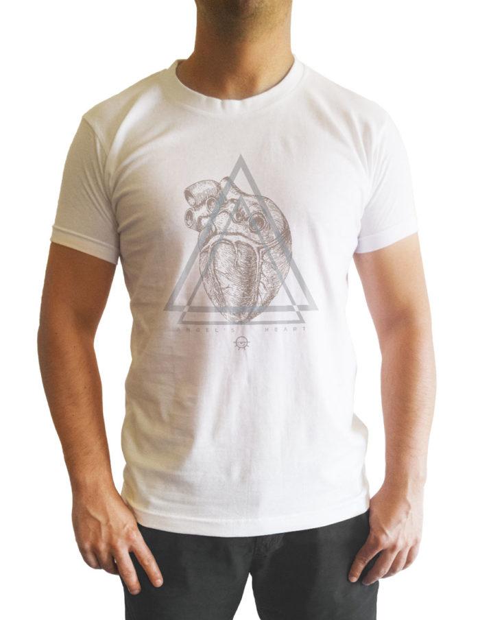 Tshirt homme blanc cintré, imprimé angel heart vu de face
