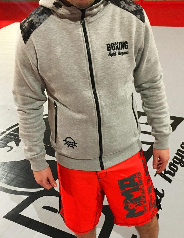 Hoodie brodé MMA coeur - gris chiné - renfort microperforé camouflage coude et épaule