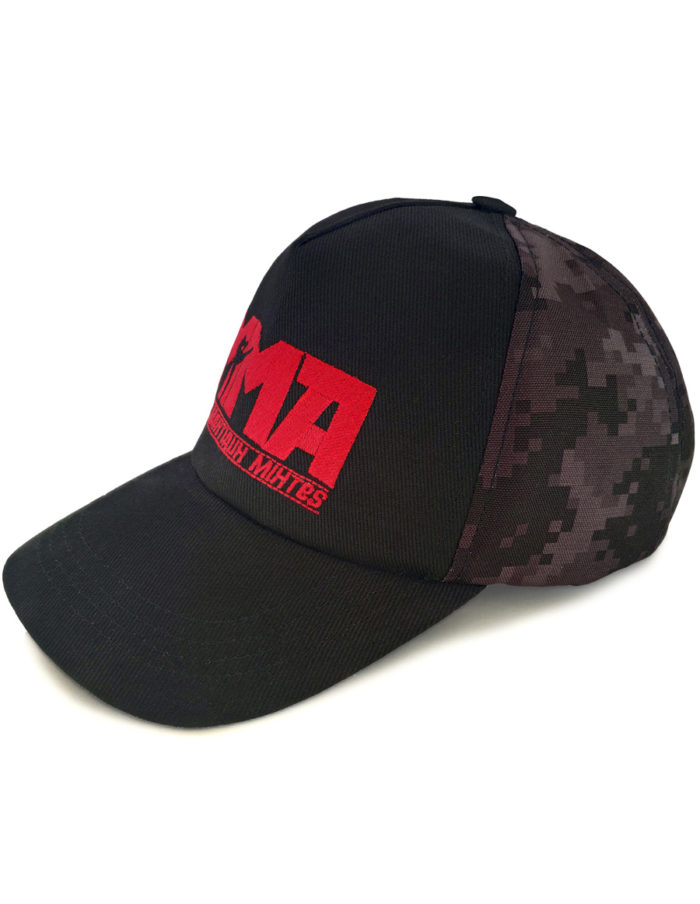 Casquette MMA brodée rouge, impression camouflage pixel