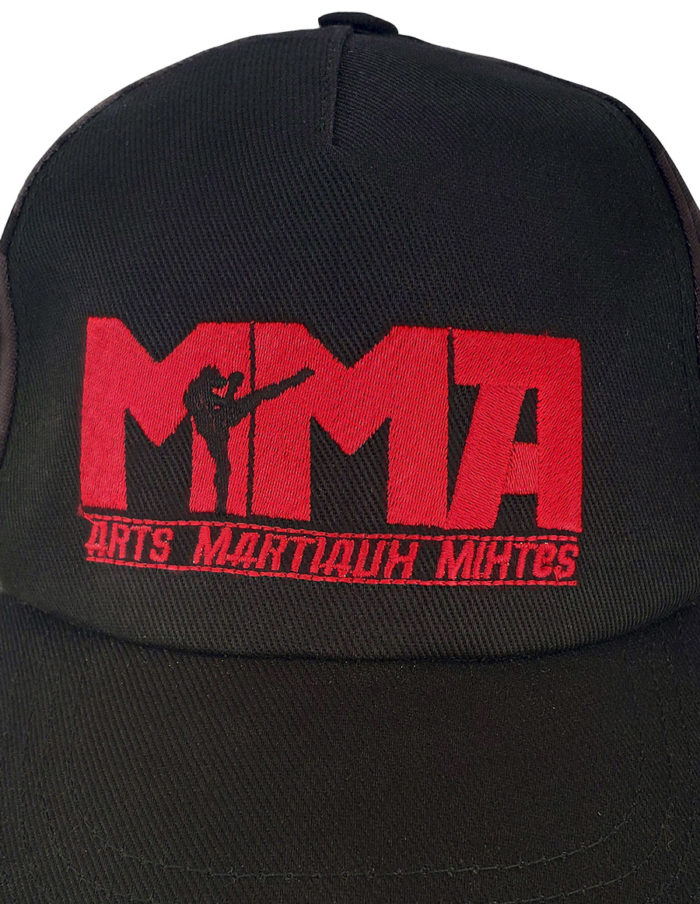 détails broderie MMA rouge sur le devant