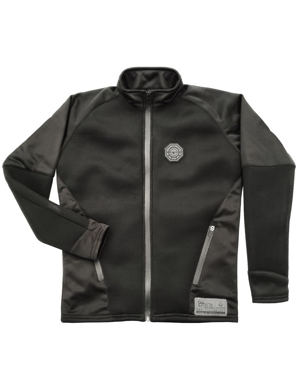 Veste jacket mixte noire, coupe cintré et matière respirante plat