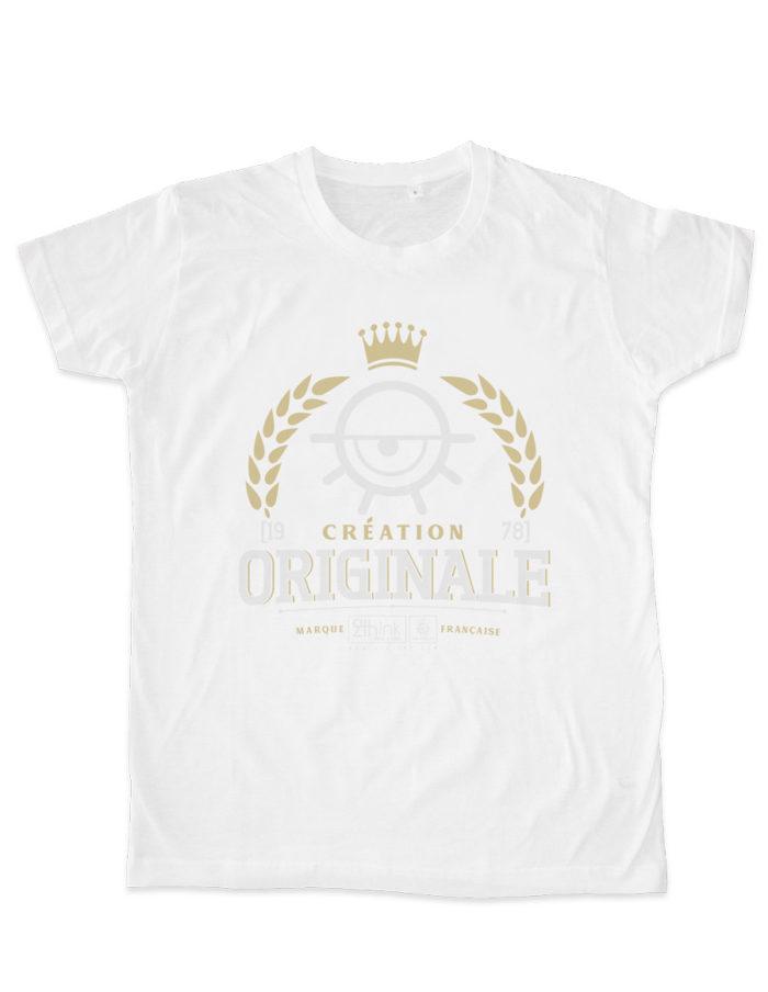 Tshirt homme blanc cintré, imprimé création originale packshot à plat