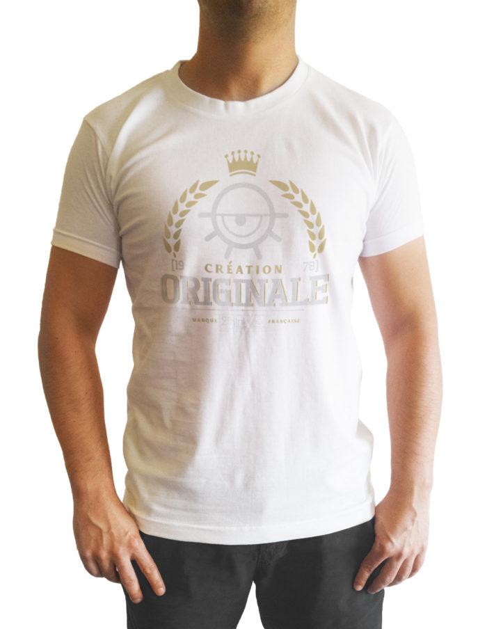Tshirt homme blanc cintré, imprimé création originale vu de face