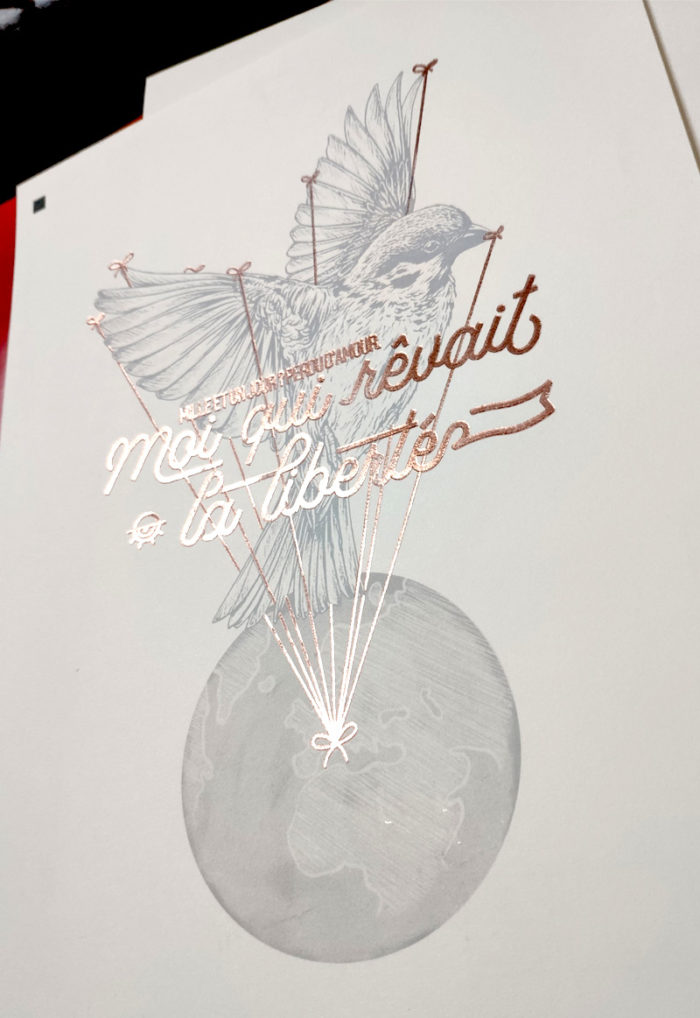 détail affiche 18x24cm moi qui rêvait la liberté, fintion rose doré (foil) et léger embossage