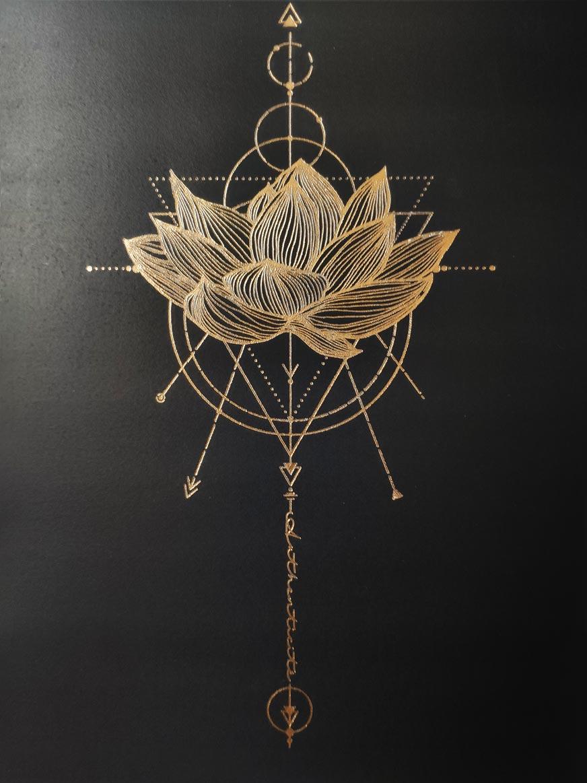 Affiche 18x24cm fleur de lotus, fintion dorure (foil) et léger embossage