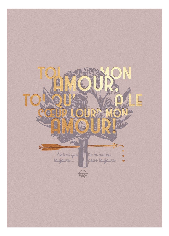 """Affiche 18x24cm """"Toi, mon amour"""" fourni sans cadre"""