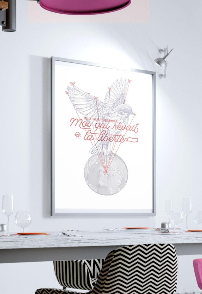 """Image d'illustration de l'affiche 18x24cm """"Moi, qui rêvait la liberté"""""""
