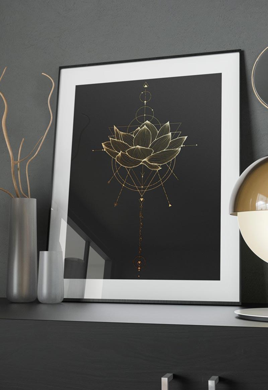 """Image d'illustration de l'affiche 18x24cm """"Fleur de lotus"""""""