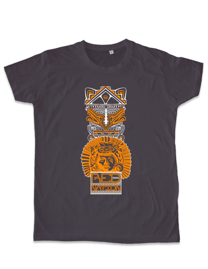 Tshirt homme gris anthracite cintré, imprimé Red nation packshot à plat