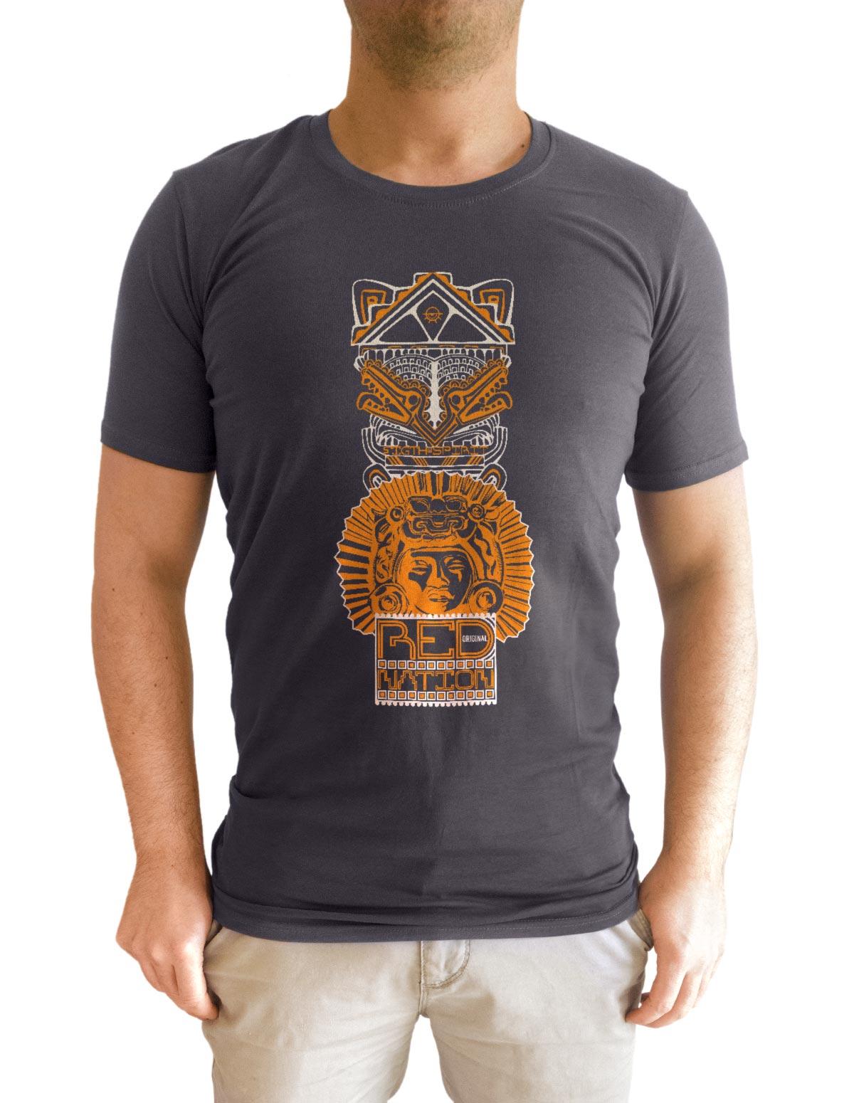 tshirt gris anthracite motif red nation porté face