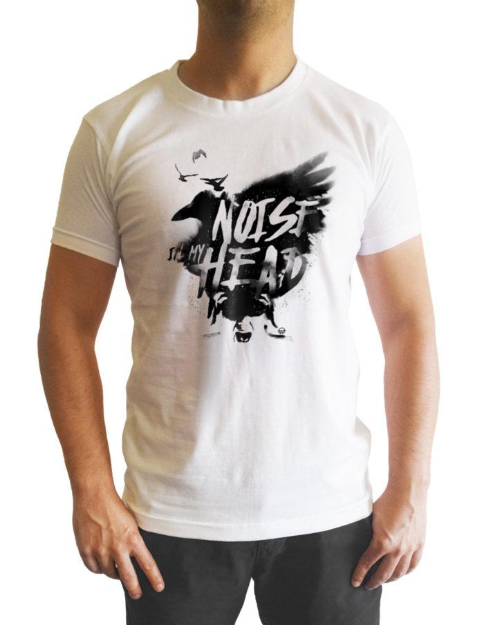 Tshirt homme blanc cintré, imprimé noise in my head vu de face